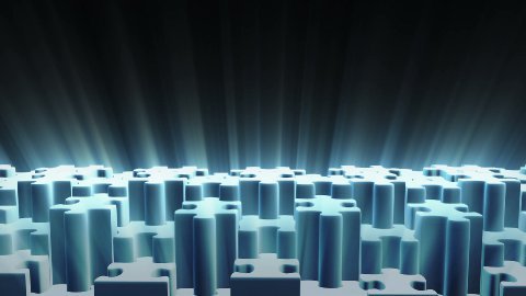 Puzzle Dance with light rays, seamless Loop - stock footage