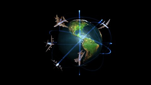 Earth rotating and Aircraft Traffic against black, Alpha - stock footage