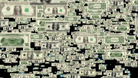 Us Dollars flying - stock footage