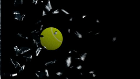Tennis-Ball breaking glass - stock footage