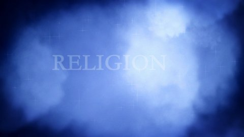 Flying through religious words on clouds - stock footage