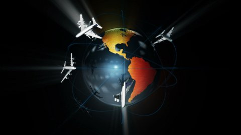 Earth and Air Traffic against black,Alpha, loop - stock footage