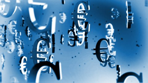 EUR european currency symbol flying - stock footage
