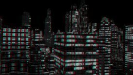 City Night Flight, Stereoscopic 3D Anaglyph, Red Cyan