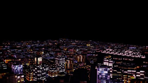 Flight above Night City - stock footage