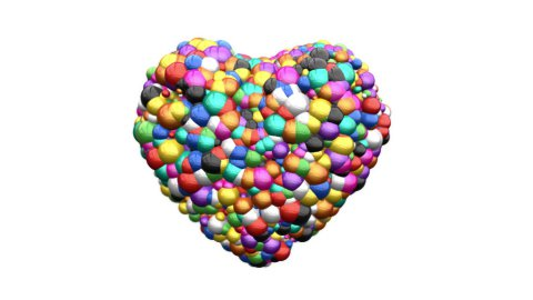 Heart of Colorful Balls exploding, Alpha - stock footage