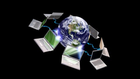 Earth globe and laptops , communication concept , LOOP - stock footage