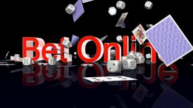 BetOnline text with casino chips dice and cards falling - motion graphic