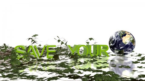 Save Your Planet text with rolling Earth and growing ivy,environmental concept - stock footage