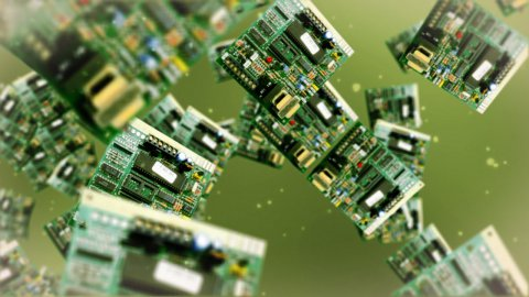 Circuit board against green - stock footage