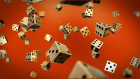 Dices against red - motion graphic