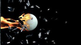 Volleyball on fire breaking glass - editable clip, motion graphic, stock footage