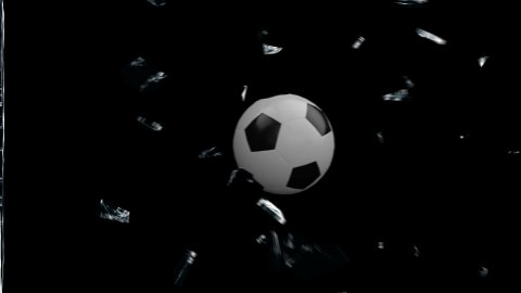 Soccer Ball breaking glass with Alpha - stock footage