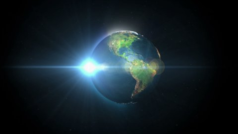 Earth Rotating Sun Rises, Blue Flare - stock footage