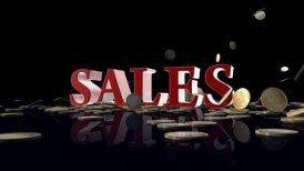 SALES with EURO coins falling - motion graphic