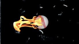 Baseball on fire breaking glass, Alpha - motion graphic