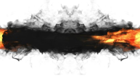 Fire torch against black and white, 2 clips - stock footage
