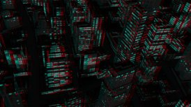 Above City Night Flight, Stereoscopic 3D Anaglyph, Red Cyan - editable clip, motion graphic, stock footage
