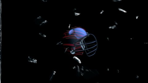 Football-Helmet breaking glass with Alpha - stock footage