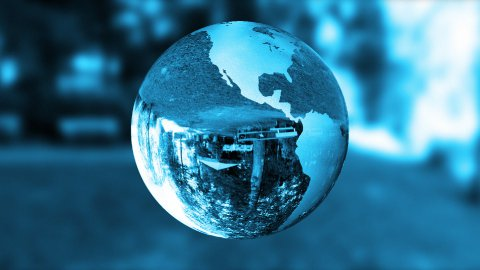 Earth globe blue glass,nature refract,loop - stock footage