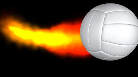 Volley ball with fire trail and Alpha - stock footage