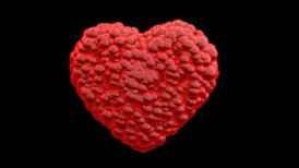 Red Balls forming a Heart, Alpha - editable clip, motion graphic, stock footage