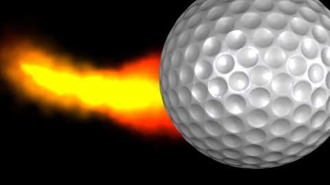 Golf ball with fire trail with Alpha - stock footage