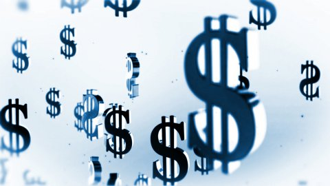 US Dollar currency symbol flying - stock footage