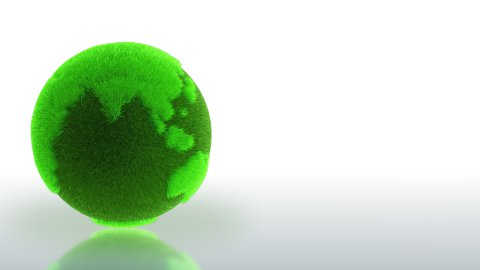 Earth planet made of grass rotating with ground reflection,looping,Alpha include - stock footage