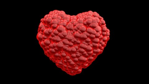 Heart of Red Balls exploding, Alpha - stock footage