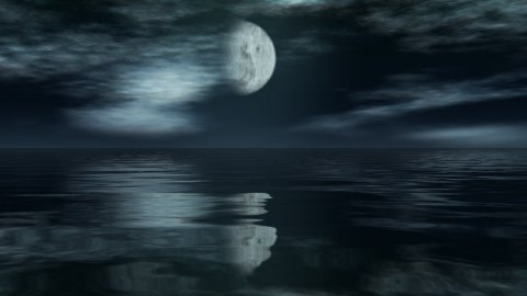 Moon time lapse with reflection over ocean - stock footage