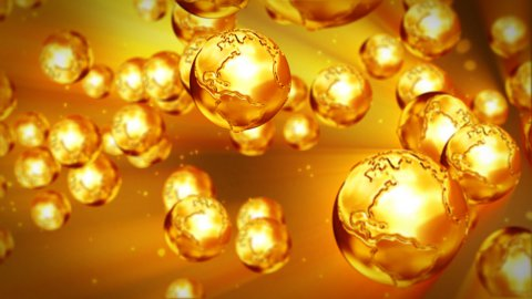 Golden Earth flying - stock footage
