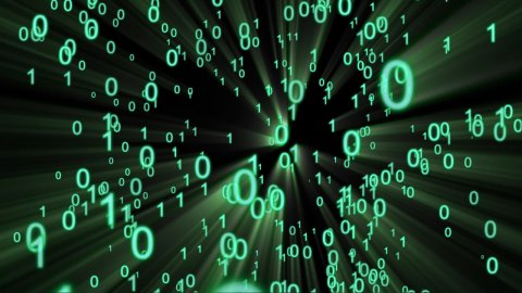 Binary numbers forming internet mail symbol - stock footage