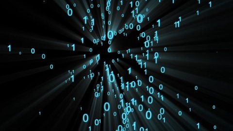Binary numbers forming silhouette running - stock footage