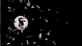 Baseball breaking glass - editable clip, motion graphic, stock footage