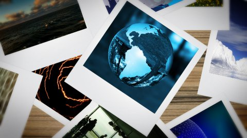 Environmental animated polaroid presentation - stock footage