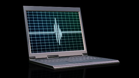 Laptop with animated EKG scanner - stock footage
