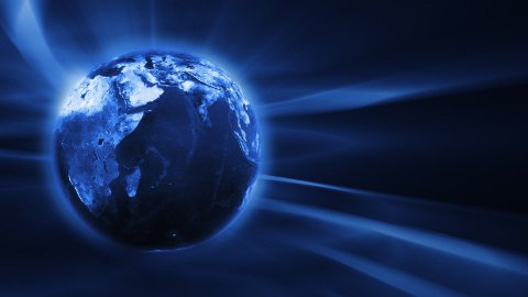 Blue FX Background with rotating Earth globe,seamless loop - stock footage