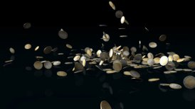 Euro coins falling on reflective floor,Alpha Channel - motion graphic