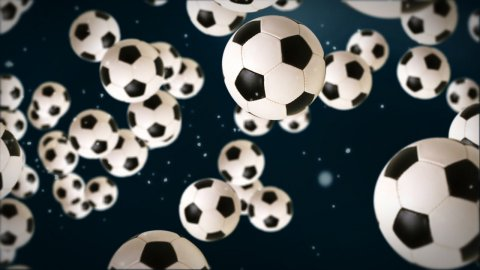 Soccer ball against dark blue - stock footage