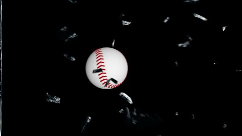 Baseball breaking glass, Alpha - stock footage