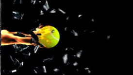 Tennis-Ball on fire breaking glass - motion graphic