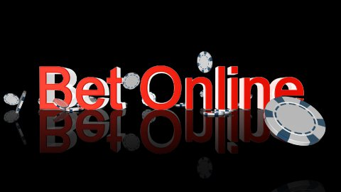 Bet Online text with casino chips falling,Alpha Channel - stock footage