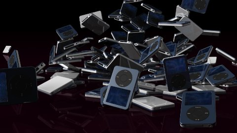 Musical mp3 player falling on reflective floor, Alpha Channel - stock footage