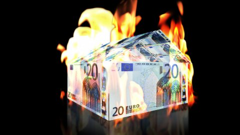 EURO House on Fire, loop - stock footage