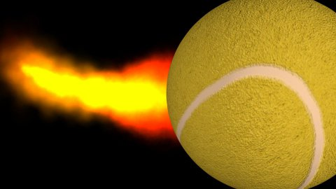 Tennis ball with fire trail and Alpha - stock footage