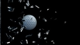 GolfBall breaking glass - editable clip, motion graphic, stock footage