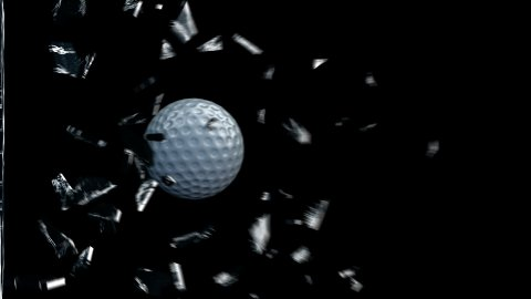 GolfBall breaking glass - stock footage