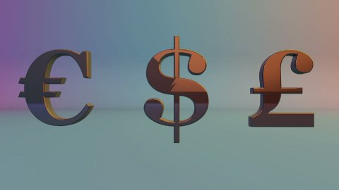 USDollar, EURO and English Pound rotating, loop, Alpha - stock footage