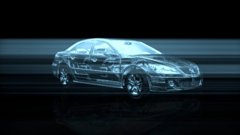 Wire frame car rotating, seamless loop - stock footage